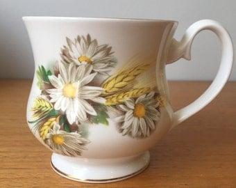 Royal Albert Daisy and Wheat Vintage Coffee Mug, White Flower, Wheat Harvest Coffee Cup, English Bone China, Coffee Lovers