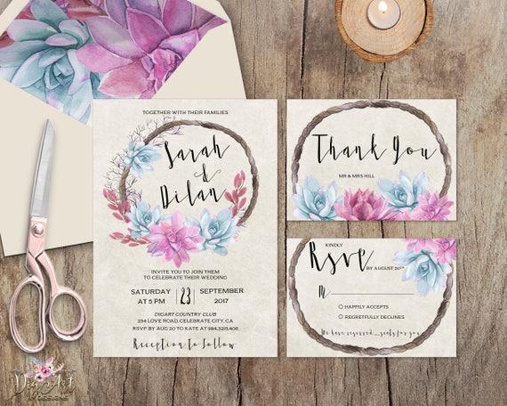 Rustic Romantic Wedding Invitations: Romantic Wedding Invitation Printable Rustic Wedding