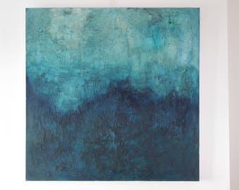 Large Abstract Painting | Large Wall Art | Contemporary Painting | Industrial | Textured Painting | Mixed Media | Blue | Green | 90x90cm
