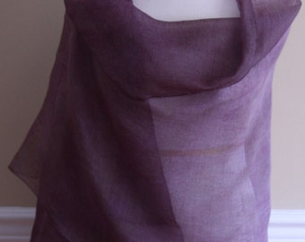 Purple, Hand Dyed Scarf, Organza Scarf, Silk Scarf, Woman's Scarf, Mother's Day Gifts