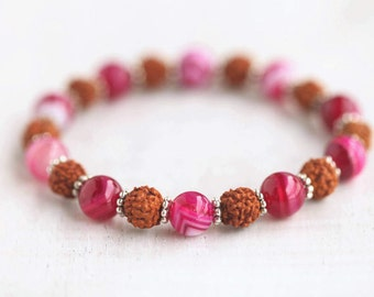 Rudraksha bracele/Pink Agate/Fucsia/seeds/indian/healing stones/gemstones/girl/8mm/beaded/stretch/gift