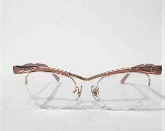Vintage 50s Rimless Cat Eye Glasses, Bausch & Lomb Rose Aluminum Cateye Glasses Frames, Vintage Rimless Cateye, Rockabilly Sunglasses Frames