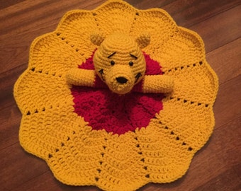 Crochet Disney Inspired Winnie the Pooh Doll, Lovey, Security Blanket