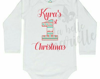 Custom Personalized Baby's First Christmas Onesie - Baby's 1st Christmas Shirt