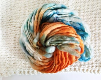 SALE Handspun Thick and Thin Yarn - Burnt Orange and Teal