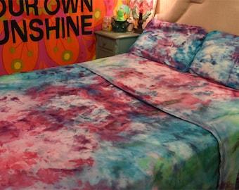 Full Size Handmade Tie Dye Jersey Sheet Set   Psychedelic, Hippie, Boho  Style.