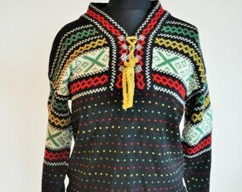 Vintage Norwegian Sweater / Norway pure wool / Women / Men / Silver clasp / Small / Nordic / Scandinavian / Cardigan / Black /  Winter