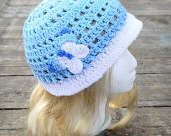 Child's summer hat, toddler sunhat, little girl's hat, beach hat, blue and white, crochet butterfly, girl's easter hat, size 3T to 8