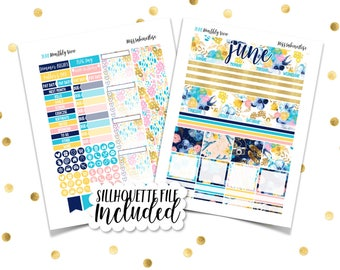 JUNE MONTHLY VIEW Escape // Printable Planner Stickers / Erin Condren Plum Paper Happy Planner Filofax Inkwell Press Summer Vacation Beach