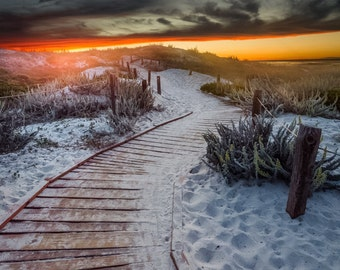 The Path to the Beach - pacific grove,california,home decor,office decor,sunset,earth tones,sand,boardwalk,red,yellow,serene,pathway,sandy