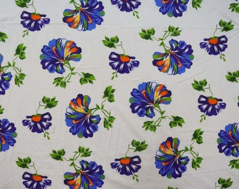 """Designer Fabric, Floral Print, Cotton Fabric, Sewing Craft, Dress Material, White Fabric, Home Decor, 41"""" Inch Fabric By The Yard ZBC6098"""