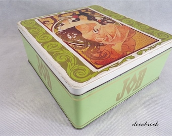 Box vintage décor Mucha Job box advertising lithographed Tin vintage France box cakes vintagefr