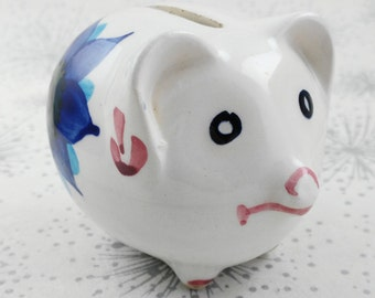 Small Piggy Bank - Cute Piggy Bank - Pig with Flowers - Vintage Money Box - 18th Birthday Gift - Gift Her Woman Lady - Vintage Piggy Bank