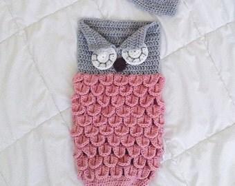 Sleeping Owl Baby Cocoon Set | Newborn Photography Prop | Baby Girl