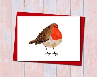 Robin card, Robin christmas card, Blank card, Collage art, Festive robin card, Bird lover card, Cute christmas card, Bird cards, Xmas cards