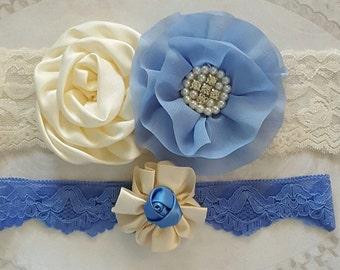 Blue and Ivory Wedding Garter Set,Cornflower Blue and Ivory Wedding Garters,Something Blue Garters,Ivory and Blue Wedding Garters,Garter Set