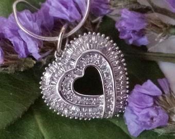 Diamond Baguette Heart Pendant White Gold Diamond Baguette Heart Pendant