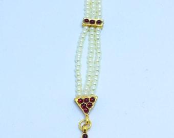 Pearl and red kundan stone head jewelry,Kohlapuri tikka,Indian Traditional,Maang Tikka,Goldtone,Ethnic hair ornament, dance jewelry