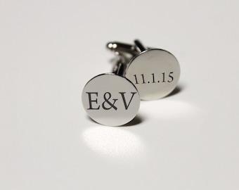 Custom Cuff Links, Custom Wedding Gifts, Wedding Cuff links, Engraved Cuff links, Groomsmen Gift, Custom Groomsmen Gifts --CL-SS-E&V