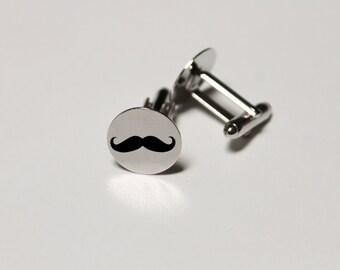 Custom Cuff Links, Custom Wedding Gifts, Wedding Cuff links, Engraved Cuff links, Groomsmen Gift, Custom Groomsmen Gifts --CL-SS-Mustache