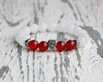 love bracelets family bracelet heart bead bracelet red white bracelet gift for girlfriend Women for loved friendship bracelet cute jewelry