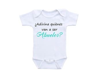 Pregnancy Reveal Grandparents Spanish Pregnancy Abuelos Baby Announcement Onsie or Gerber Baby Onesie® Spanish Onesie® New Grandparents Gift