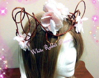 Handmade Light Blush Pink Fairy Flower Crown Fits All Ages Over Ten Ready To Ship