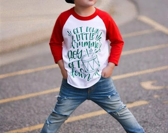 little drummer boy shirt, boy christmas raglan, baby boy, toddler boy, funny christmas shirt, xmas shirt, outfit, baseball tee, holiday shir