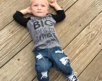 Kids Jesus shirt, bible verse shirt, kids bible tees, spiritual shirt, He's got big plans for me, raglan, boy, girl, t shirt, graphic tee