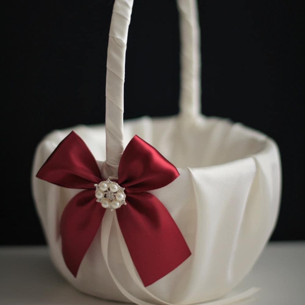 Burgundy Flower Girl Basket Burgundy Wedding Basket Dark