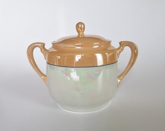 Vintage Early Noritake Iridescent Sugar Bowl Nippon Lusterware w/ Lid  Vintage Art Deco Kitchen Table Decor 1920's 1930's