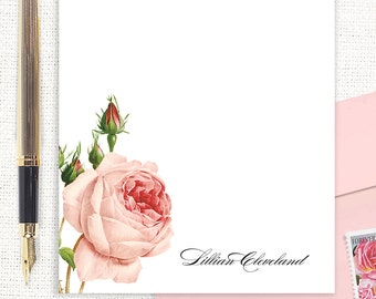 personalized notePAD - LIGHT PINK ROSE - floral stationery - custom stationary - botanical - floral - flower - letter writing paper