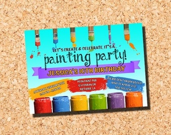 Paint Party Invitation, Painting Party Invitation, Paint Party Birthday Invitation, Painting Party Birthday Invitation, Digital Printable