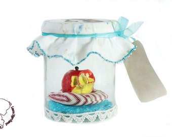 """Authentic poisoned apple in snow white, sculpture of Apple bite in a decorated jar. """"Make a wish"""" version bitten Apple"""