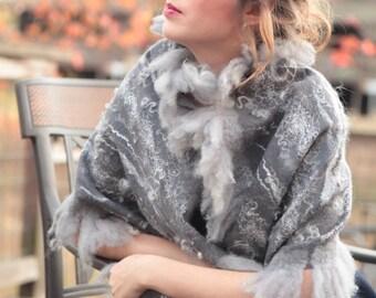 Grey wool shawl, felted wool shawl, felted fleece wrap shawl, merino wool scarf wrap, OOAK shawl, wearable fiber art, winter shawl