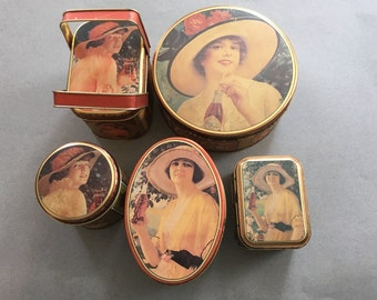 Vintage 1980's Coca Cola Tins-Set of 5