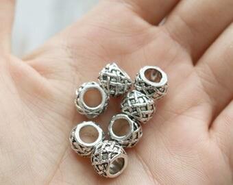Set of 5, Large Hole Beads, Charm Beads, Plaid Beads, Lattice Beads, Hemp Bracelet Beads, Large Hole, Silver Beads, Silver Hole Beads,