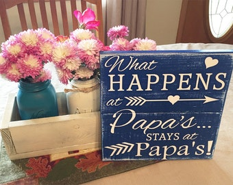 Christmas Gift for Grandpa • What happens at papa's stays at papa's • Papa's Grandpa's Dad's Wood Sign • Personalized Plaque • Custom sign