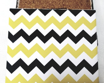 Black and Gold Chevron Pattern Ceramic Tile Drink Coaster Set of 4