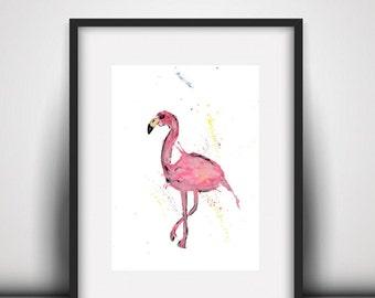 Flamingo watercolour PRINT, flamingo, watercolour painting, flamingo lover gift, watercolour animal print, flamingo lovers gift