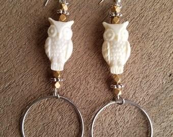 Ivory Owl Resin Earrings with Silver Rings