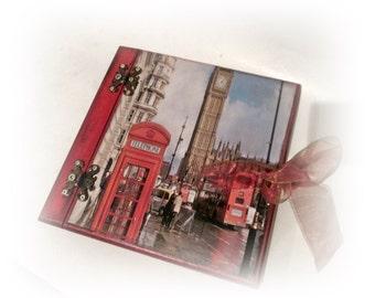 Family Travel Album London Adventure Album Photo Album Personalized Travel Memory Book Wood Covers Album Vacation Album Wood Travel Journal