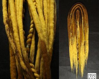 Wool Woolen Woolies Dreadlocks Dread Yellow Blond Brown Set DE Pieces