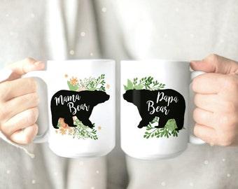 His and Hers Mugs - Papa and Mama Bear Mugs - Couple Mugs - Coffee Mug - Mama Bear Mug - Papa Bear Mug - Funny Mug - Cute Mugs