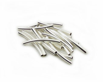 Silver Color Curved Tube Beads, 30x3mm Curved Tube Beads, Curved Tube Beads, 15pcs Curved Tube Beads, Jewelry Making, Craft Supplies