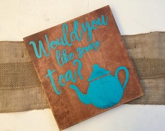 Tea Sign, Would you like some tea?, Blue Tea sign, Kitchen Sign, Wood Kitchen sign, kitchen sign, rustic tea sign, tea bar sign