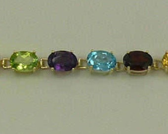 Multicolor Gemstones Bracelet 7 Inches 14k Yellow Gold