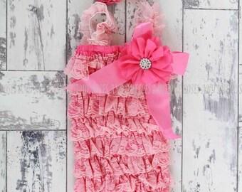 Vintage Coral Baby Romper, Coral Romper, Petti Lace Romper, Newborn Romper, Toddler Romper, Baby Photo Prop, Lace Romper, Pink Romper Set