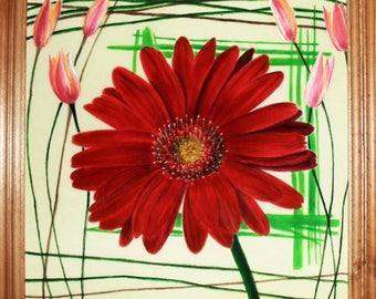 Original Watercolor Painting on silk, batik art, gerbera, red flowers