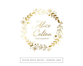 Premade Logo - Gold Logo - Logo Design - Photography Logo - Watercolor Logo - Flower Wreath Logo - Floral Wreath Logo - Feminine Logo